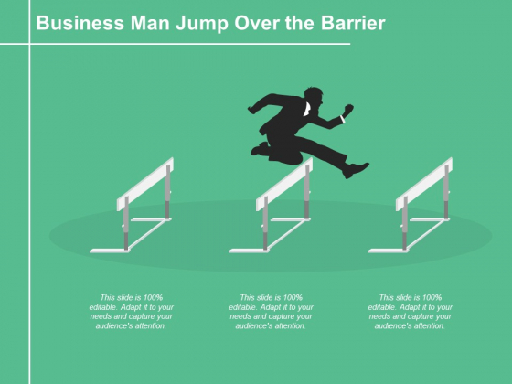 Business Man Jump Over The Barrier Ppt PowerPoint Presentation File Maker