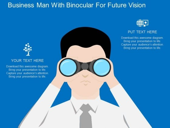 Business Man With Binocular For Future Vision Powerpoint Template