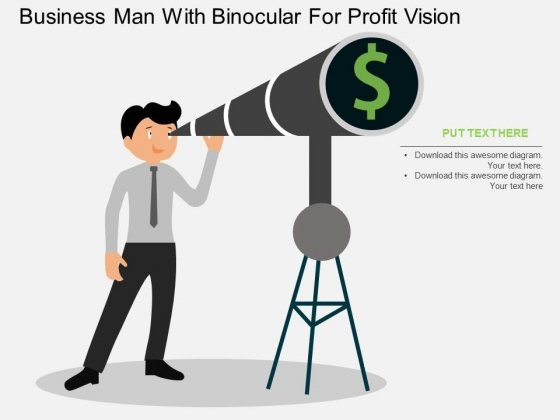 Business Man With Binocular For Profit Vision Powerpoint Template