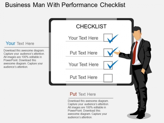 Business Man With Performance Checklist Powerpoint Template