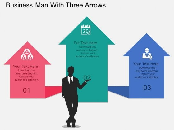 Business Man With Three Arrows Powerpoint Template
