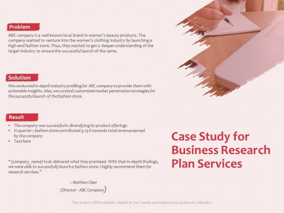 Business Management Research Case Study For Business Research Plan Services Ppt Slides Show PDF