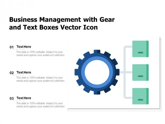 Business Management With Gear And Text Boxes Vector Icon Ppt PowerPoint Presentation Gallery Outfit PDF