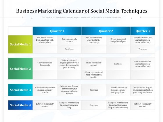 Business Marketing Calendar Of Social Media Techniques Ppt PowerPoint Presentation File Ideas PDF