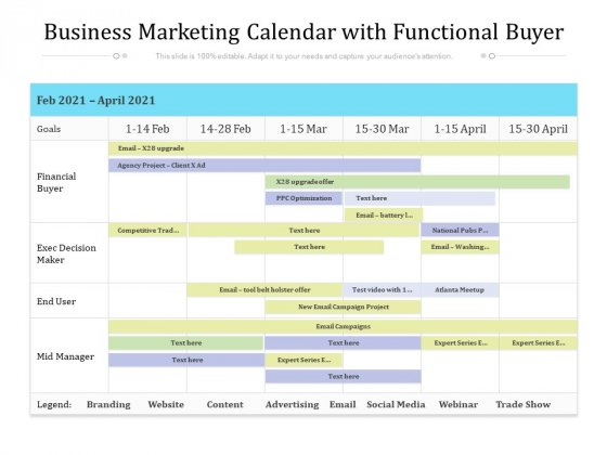 Business Marketing Calendar With Functional Buyer Ppt PowerPoint Presentation File Outline PDF