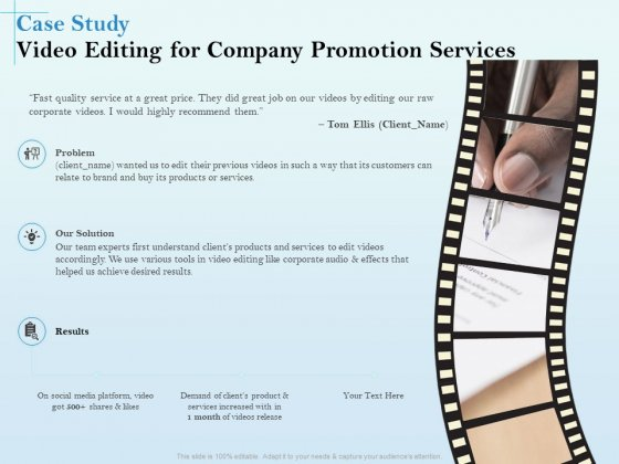 Business Marketing Video Making Case Study Video Editing For Company Promotion Services Inspiration PDF