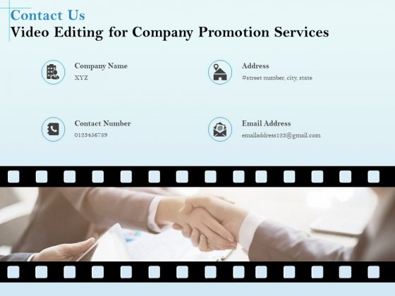 Business Marketing Video Making Contact Us Video Editing For Company Promotion Services Introduction PDF