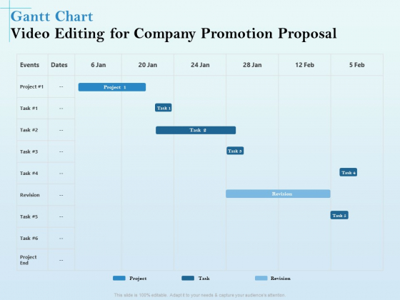 Business Marketing Video Making Gantt Chart Video Editing For Company Promotion Proposal Rules PDF