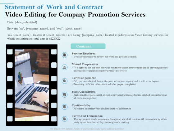 Business Marketing Video Making Statement Of Work And Contract Editing For Company Promotion Services Graphics PDF