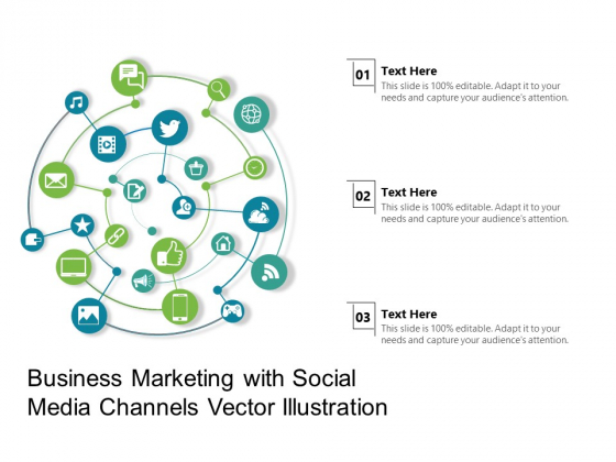 Business Marketing With Social Media Channels Vector Illustration Ppt PowerPoint Presentation Show Deck PDF