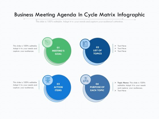 Business Meeting Agenda In Cycle Matrix Infographic Ppt PowerPoint Presentation Gallery Background Designs PDF