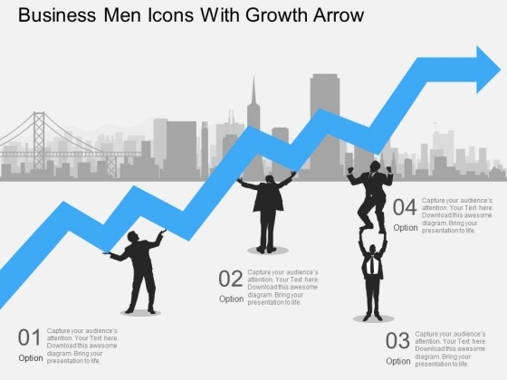 Business Men Icons With Growth Arrow Powerpoint Template