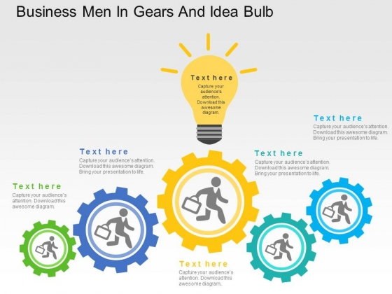 Business Men In Gears And Idea Bulb Powerpoint Templates