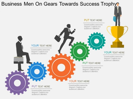 Business Men On Gears Towards Success Trophy Powerpoint Templates