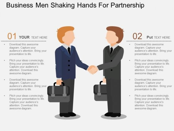 Business Men Shaking Hands For Partnership Powerpoint Template
