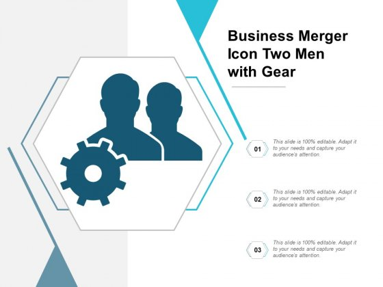 Business Merger Icon Two Men With Gear Ppt Powerpoint Presentation Ideas Information