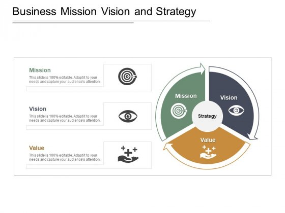 Business Mission Vision And Strategy Ppt PowerPoint Presentation Diagram Images
