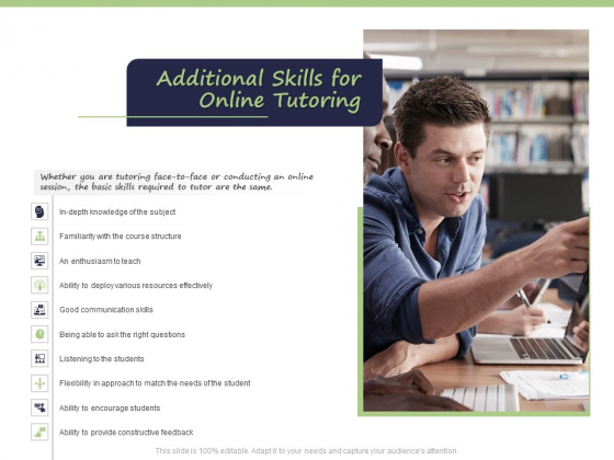 Business Model For E Tutoring Services Proposal Additional Skills For Online Tutoring Introduction PDF