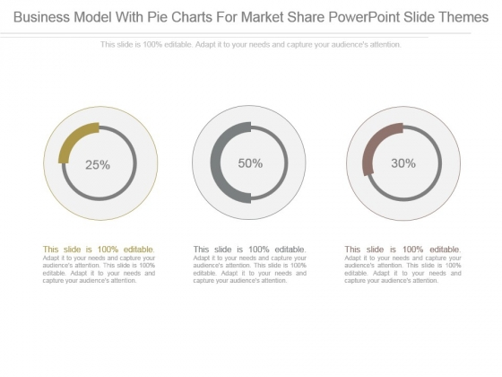Business Model With Pie Charts For Market Share Powerpoint Slide Themes
