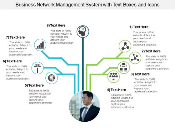 Business Network Management System With Text Boxes And Icons Ppt PowerPoint Presentation Gallery Layout