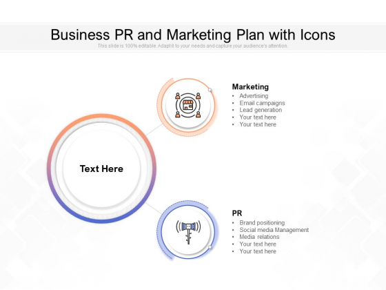 Business PR And Marketing Plan With Icons Ppt PowerPoint Presentation Layouts Deck