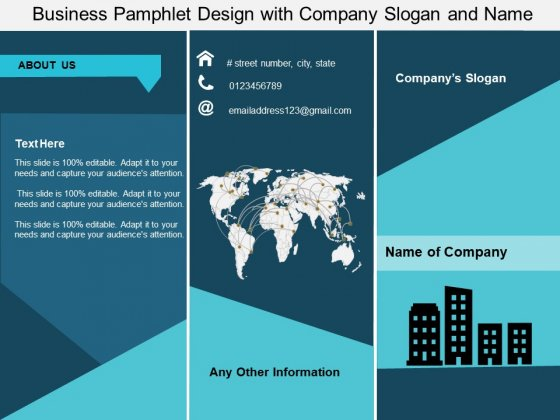 Business Pamphlet Design With Company Slogan And Name Ppt PowerPoint Presentation Show Styles