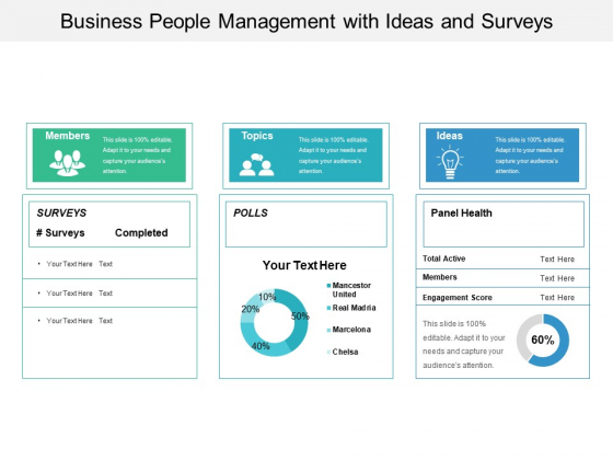 Business People Management With Ideas And Surveys Ppt PowerPoint Presentation File Visuals PDF