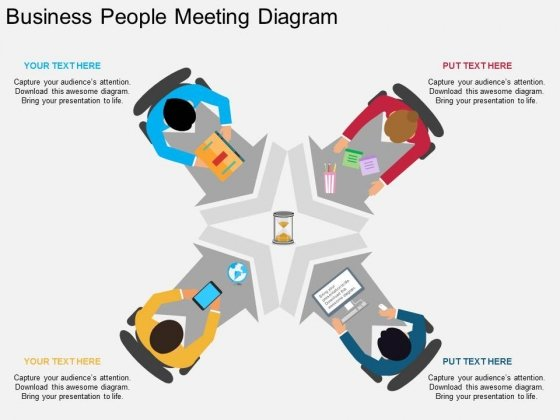 Business People Meeting Diagram Powerpoint Template