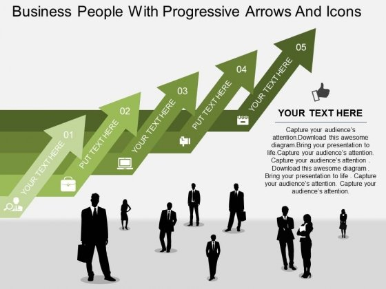 Business People With Progressive Arrows And Icons Powerpoint Template