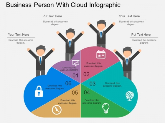 Business Person With Cloud Infographic Powerpoint Template