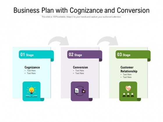 Business Plan With Cognizance And Conversion Ppt PowerPoint Presentation Infographic Template Ideas PDF