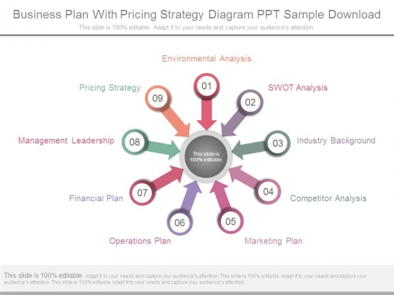 Business Plan With Pricing Strategy Diagram Ppt Sample Download