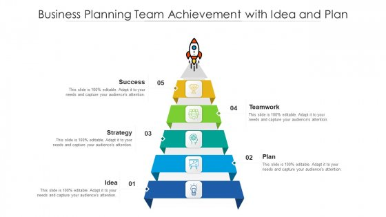 Business Planning Team Achievement With Idea And Plan Ppt Icon Slideshow PDF
