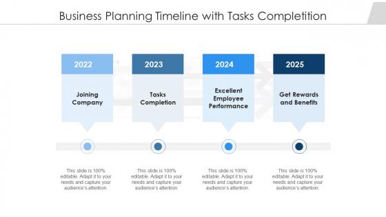 Business Planning Timeline With Tasks Completition Ppt Show Mockup PDF