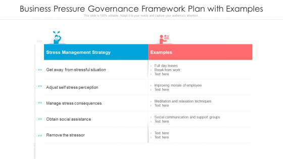 Business Pressure Governance Framework Plan With Examples Ppt Ideas Guide PDF