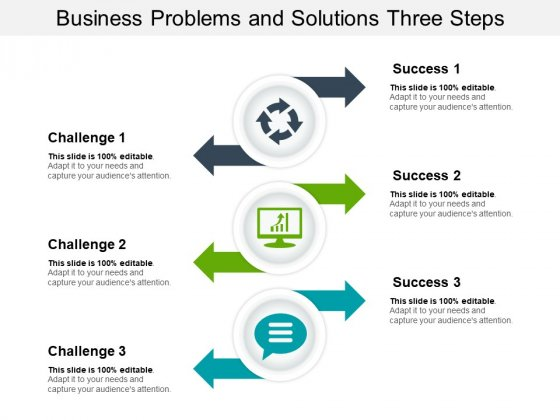Business Problems And Solutions Three Steps Ppt PowerPoint Presentation Icon Infographics PDF
