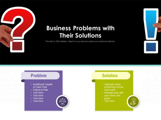 Business Problems With Their Solutions Ppt PowerPoint Presentation Summary Professional PDF