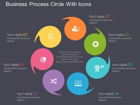 Business Process Circle With Icons Powerpoint Template