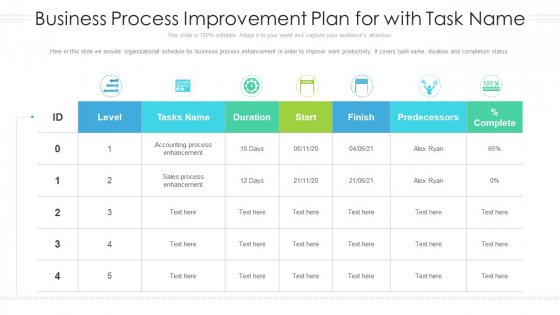 Business Process Improvement Plan For With Task Name Ppt Styles Diagrams PDF