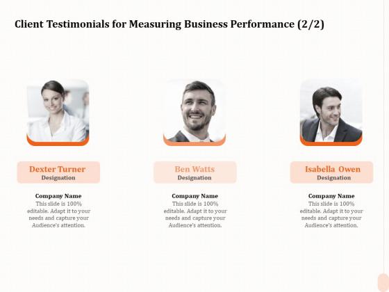 Business Process Performance Measurement Client Testimonials For Measuring Business Performance Company Inspiration PDF