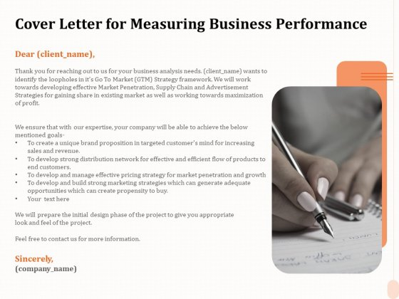 Business Process Performance Measurement Cover Letter For Measuring Business Performance Mockup PDF