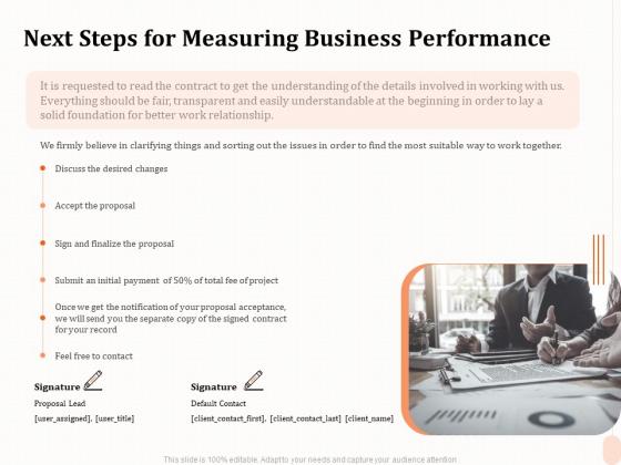 Business Process Performance Measurement Next Steps For Measuring Business Performance Clipart PDF