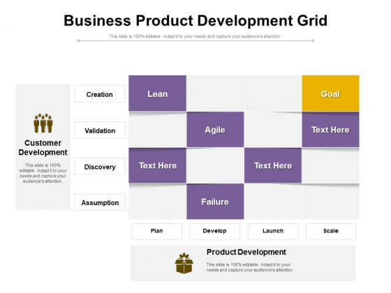 Business Product Development Grid Ppt PowerPoint Presentation File Maker PDF