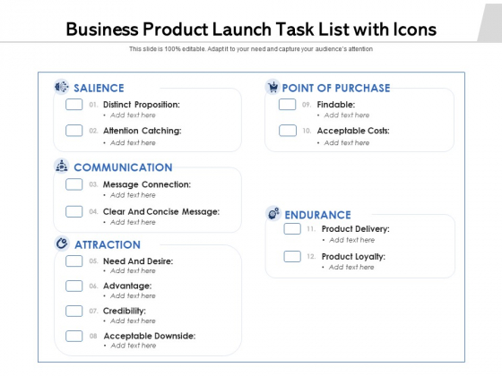 Business Product Launch Task List With Icons Ppt PowerPoint Presentation Infographic Template Tips PDF