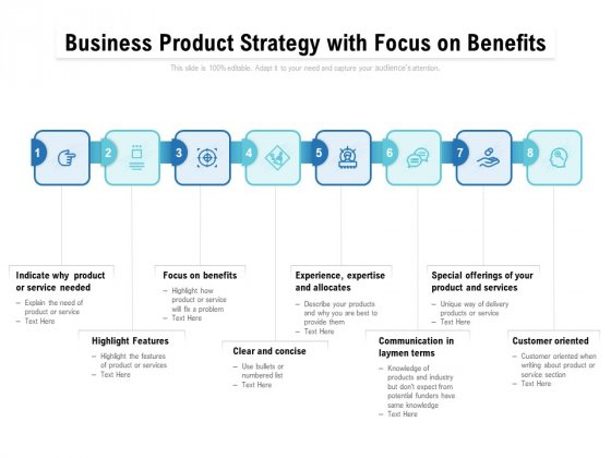 Business Product Strategy With Focus On Benefits Ppt PowerPoint Presentation Ideas Layouts