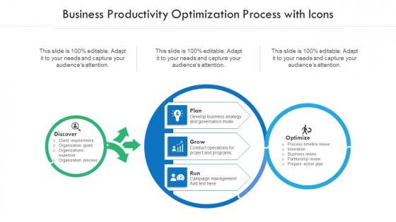 Business Productivity Optimization Process With Icons Ppt Summary Layout PDF