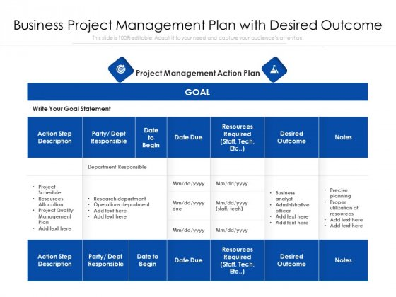 Business Project Management Plan With Desired Outcome Ppt PowerPoint Presentation Icon Backgrounds PDF