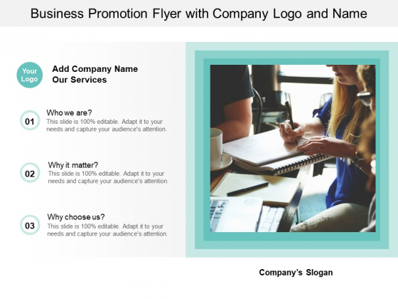 Business Promotion Flyer With Company Logo And Name Ppt PowerPoint Presentation Portfolio Display