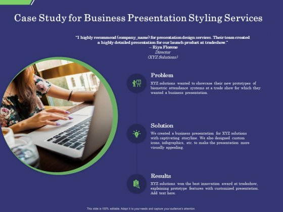 Business Proposal Case Study For Business Presentation Styling Services Ppt Summary Show PDF