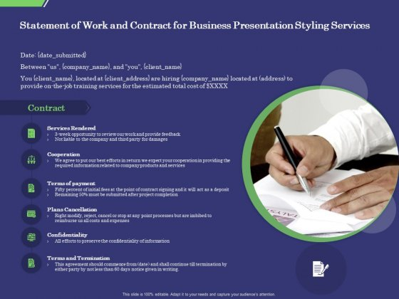 Business Proposal Statement Of Work And Contract For Business Presentation Styling Services Template PDF